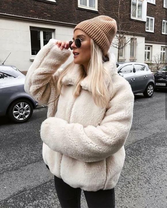 Veste peluche blanche comment porter