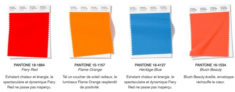 Couleurs tendances 2020 rouge orange bleu