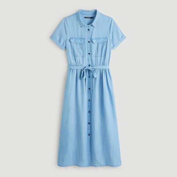 Robe chemise boutonnée lyocell