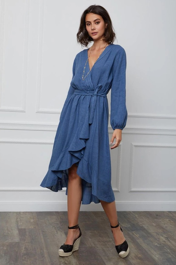 Robe longue portefeuille bleu indigo