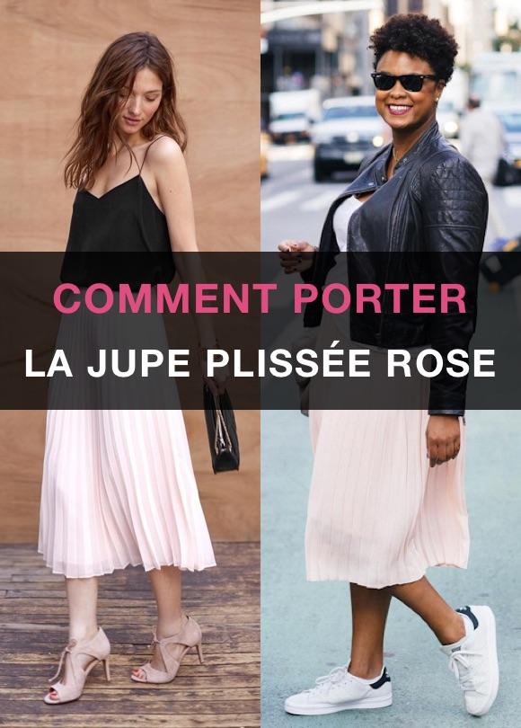 Comment porter jupe plissée rose