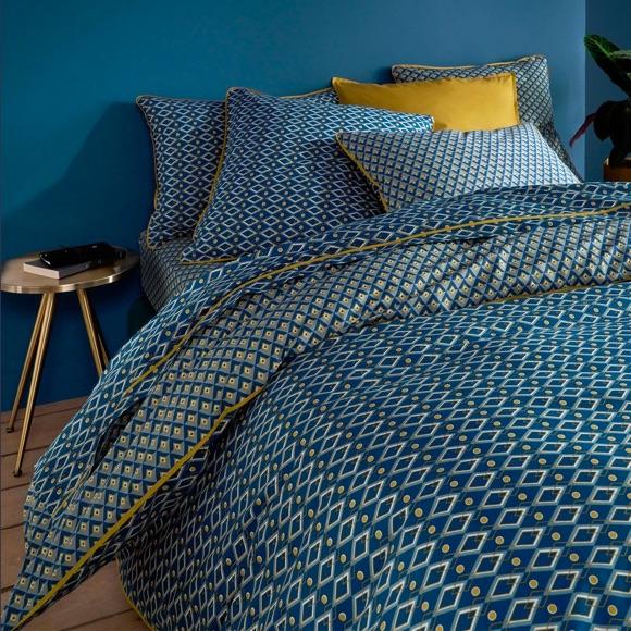 Décoration chambre housse de couette bleue