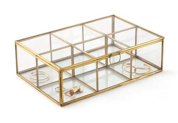 Boîte bijoux transparente en verre métal doré