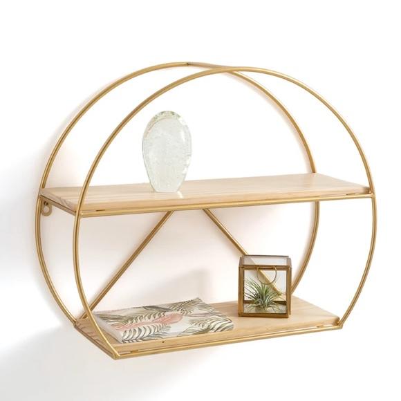 Étagère ronde en bois et métal