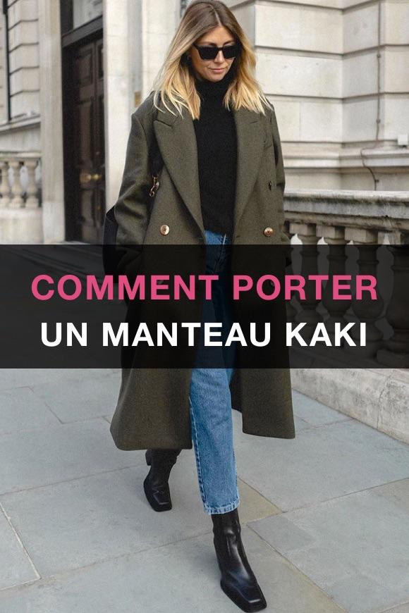 Porter manteau kaki femme