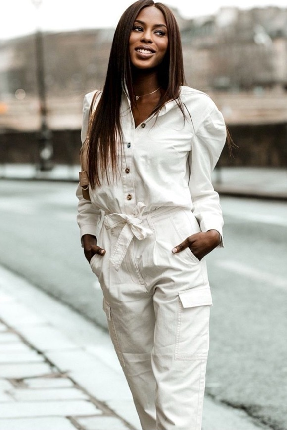 Combinaison jean blanc