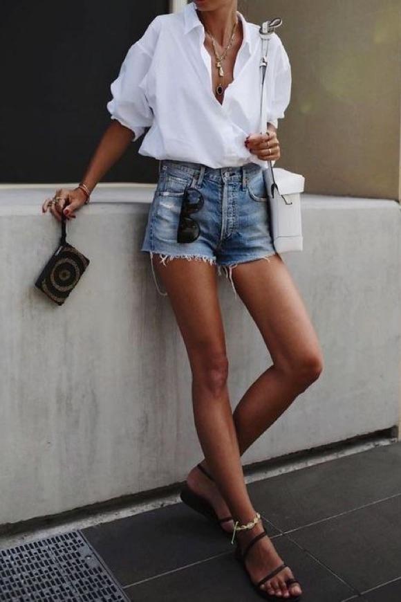 Chemise blanche tenue décontractée femme