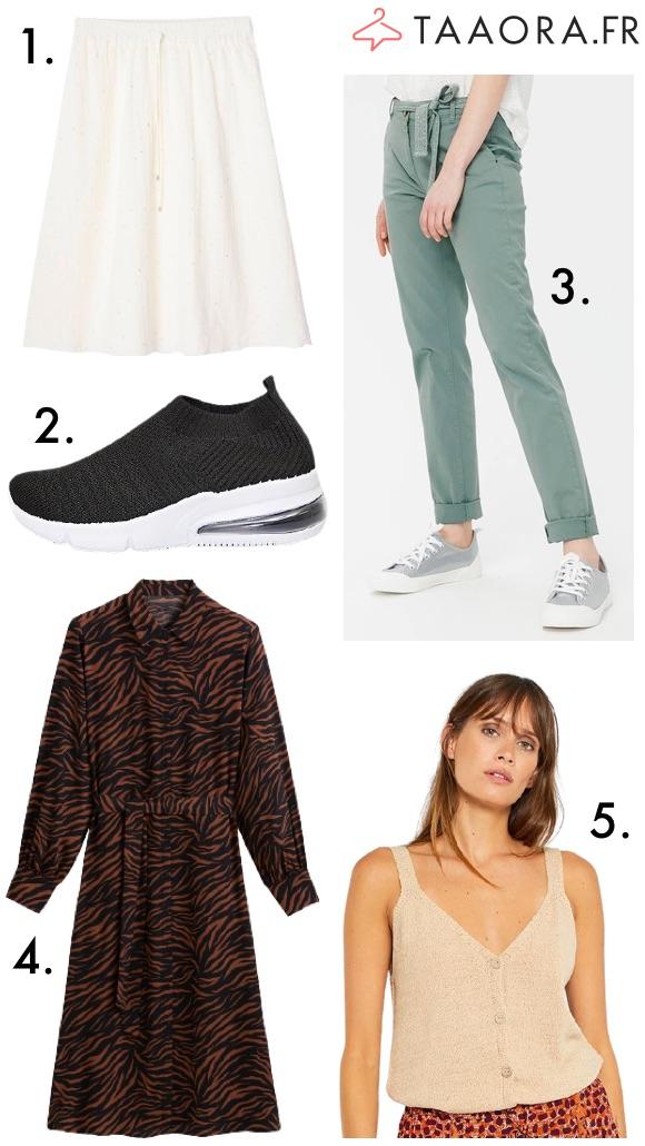 Jupe robe pantalon débardeur baskets tendance mode été 2021