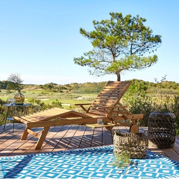 Chaise longue en acacia bain de soleil