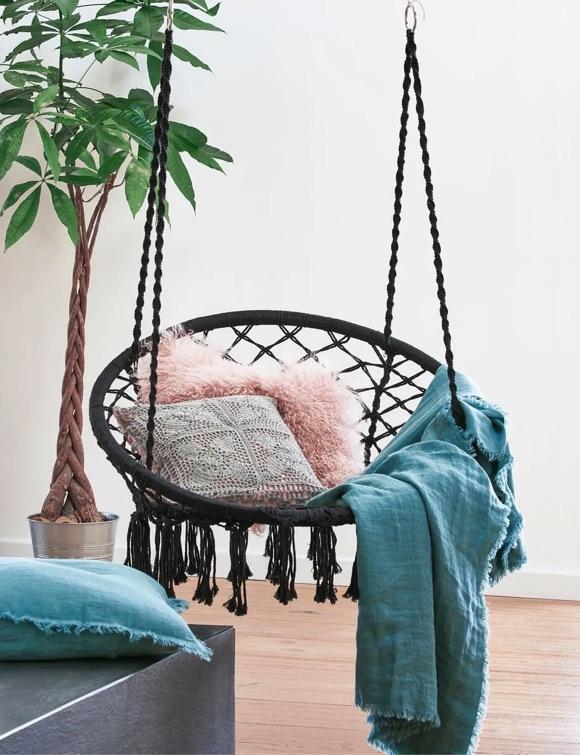Chaise hamac noir à suspendre