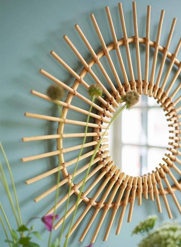 Miroir rotin forme soleil coeur