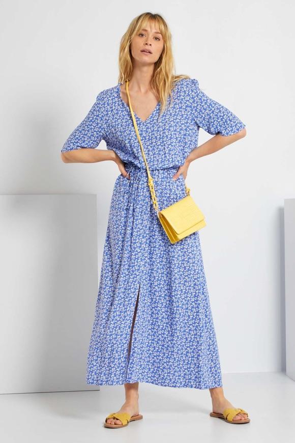 Robe longue bohème bleue