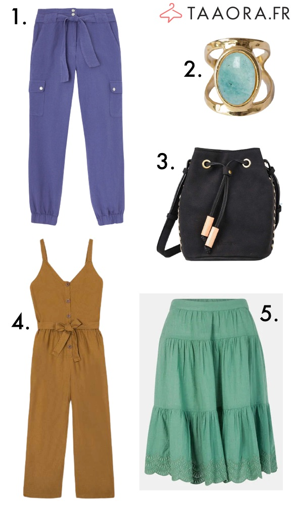 Mode été 2021 : jupe verte, pantalon cargo, combinaison lin