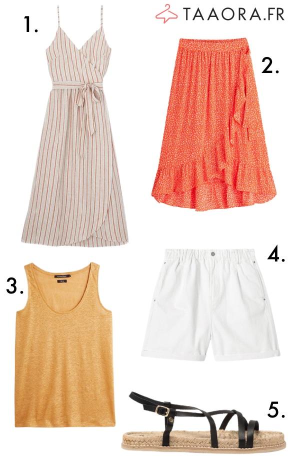 Robe rayures verticales, jupe rouge volantée, short blanc, débardeur doré, sandales corde