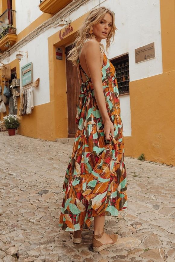 Robe longue bohème multicolore