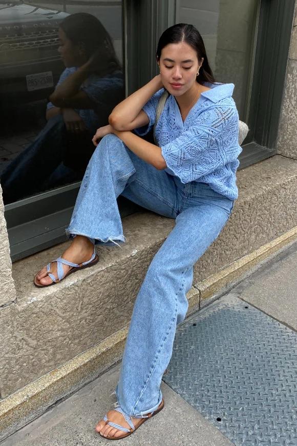 Total look bleu ciel femme