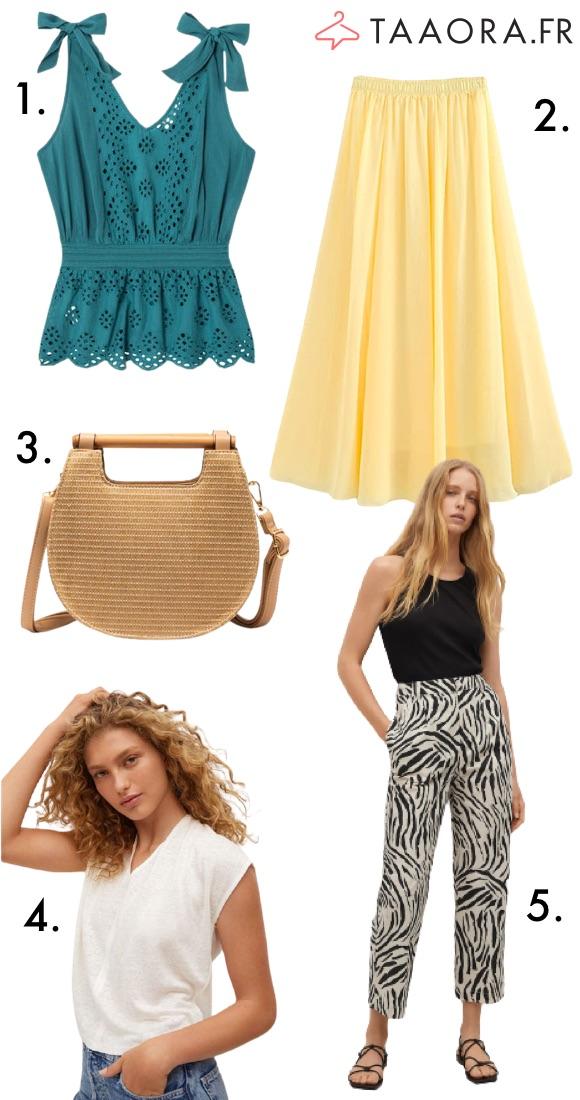 Mode été jupe jaune bohème top vert émeraude pantalon imprimé sac raphia haut en lin