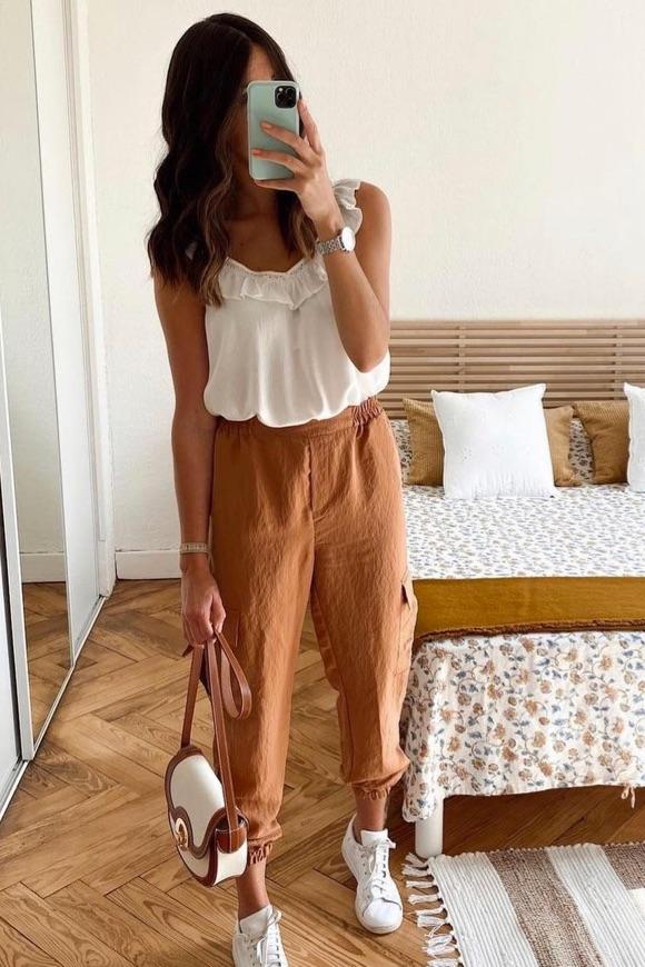 Pantalon cargo femme camel