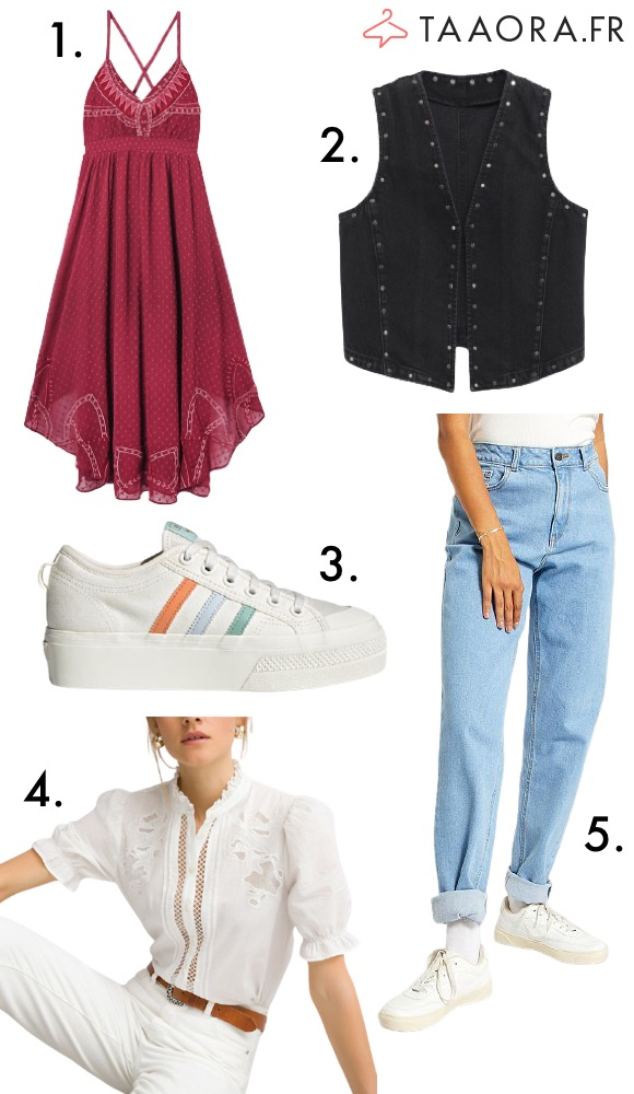 Robe longue asymétrique, chemise blanche, jean mom, baskets Nizza Platform, gilet en jean Mango
